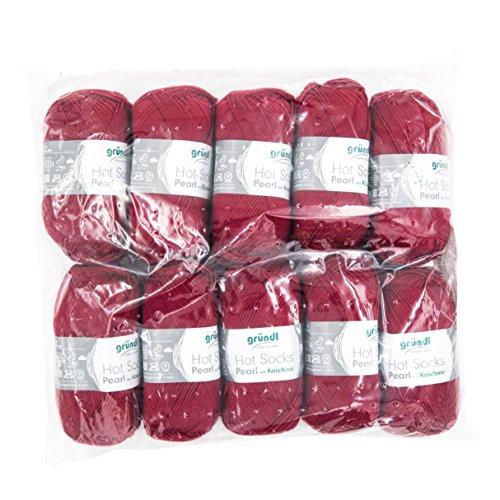 Gründl 3409–14 Hot Socks Pearl Uni, Avantage Pack de 10 à Tricoter 50 g de Laine pour Chaussettes, 75% Laine (Mérinos Superwash), 20% Polyamide, 5% Cachemire, Cerise, 40 x 37 x 11 cm