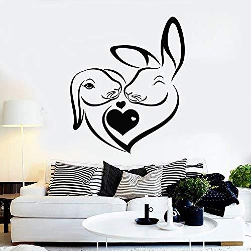 Calcomanías de pared de conejito abstracto amor puertas y ventanas de animales pegatinas de vinilo tienda de mascotas guardería habitación de niños interior papel tapiz de arte decorativo