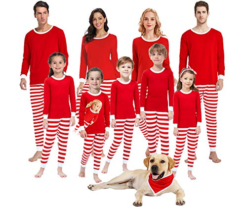 Matching Family Pajamas for Women Men Christmas Boys and Girls Red Striped Jammies Baby Clothes Kids 12t