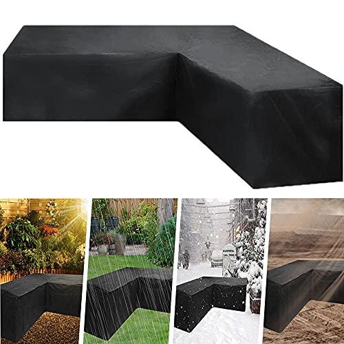 ZG-HOME 600D Oxford Fundas para sofá de jardín en, Funda Sofa esquinero, Forma de L/V Fundas para Muebles de jardãnimpermeables,Antipolvo yanti UV(300x300x98) Vtype286x286x82cm