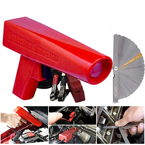 Engine Timing Light with Feeler Gauge 32 Blades,Inductive Timing Light Gun Timing Light Ignition Testers Engine Ignition Coil Tester for Car Motor Vehicle Motorcycle Marine Lawnmower Measuring Gap