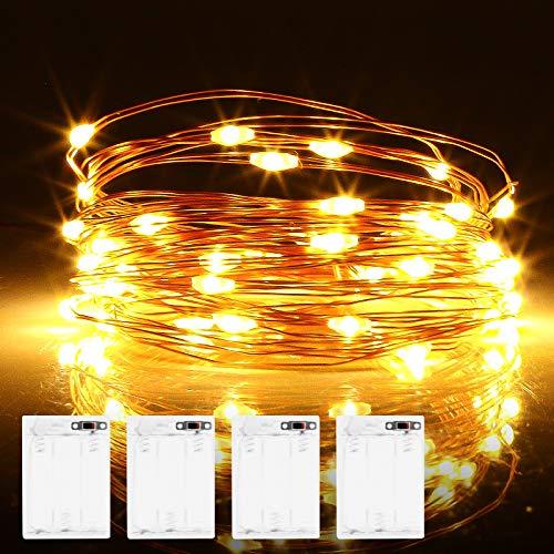 Micro LED Lichterkette Batterie, 4 Stück 6 Meter 60er LED lichterkette mit Timer IP65 Wasserdicht Draht Beleuchtung für Party, Garten, Hochzeit, Weihnachten, Halloween