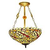 CGSJG Tiffany Chandelier Tiffany Colgante iluminación 16'Europeo Tiffany Pendiente lámpara Fondo Inferior luz Creativo Manchado Amarillo Dragonfly Vidrio Sala de Estar Comedor Dormitorio araña