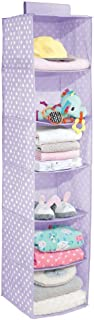 mDesign Soft Fabric Over Closet Rod Hanging Storage Organizer with 6 Shelves for Child/Kids Room or Nursery - Polka Dot Print - Light Purple/White Dots