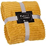 GREEN ORANGE Throw Blanket for Couch - 50x60, Lightweight, Mustard Yellow - Soft, Plush, Fluffy, Warm, Cozy - Perfect for Bed, Sofa