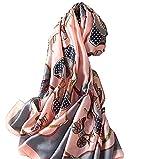 Silk Scarf Ladies Shawl Carriage Neckerchief Pañuelo de seda para mujer, de seda, con cuello largo, ligero, estilo hiyab, estilo vintage, 180 x 90 cm, color rosa y gris