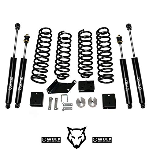 """WULF 3"""" Front 3"""" Rear Lift Kit with WULF Shocks compatible with 2007-2017 Jeep JK Wrangler Unlimited 4X4 2 4-Door JKU"""