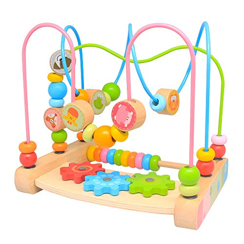 Bead Maze for Babies,Wooden Educational Abacus Beads Circle Toddler Toys Age 1-2 - Colorful Roller Coaster Activity Game,Great Gift for Babies Toddlers Girls and Boys