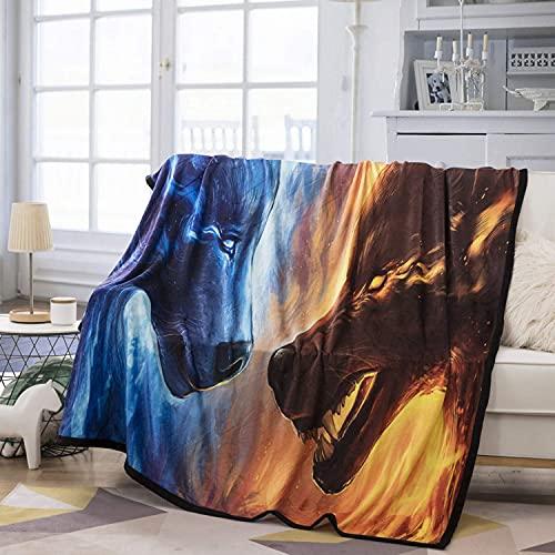 Coperta in pile di flanella di lusso 3D con lupo di ghiaccio e stampa fuoco Coperta di peluche morbida, confortevole e resistente adatta per camera da letto e divano del soggiorno 60 'x 50' A