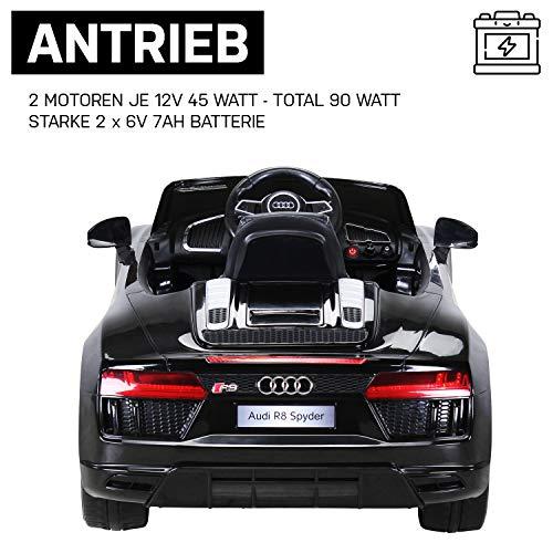 Actionbikes Motors Kinder Elektroauto Audi R8 Spyder - Lizenziert - 2 x 45 Watt Motor - Rc 2,4 Ghz Fernbedienung - Eva Vollgummireifen - USB - Softstart - Elektro Auto für Kinder ab 3 Jahre (Schwarz)