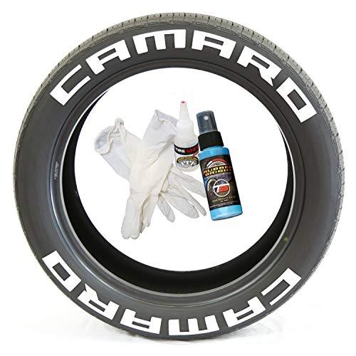 Tire Stickers Pegatinas para neumáticos Camaro Permanente con Pegamento, tamaño y Colores Personalizados (Paquete de 8)