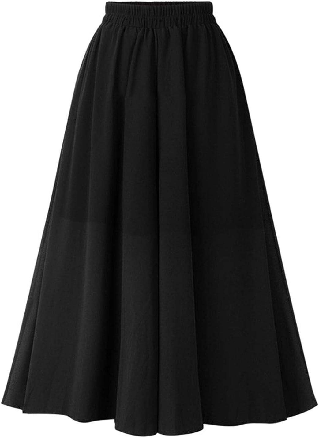 Uaneo Women's Casual Loose Black High Elastic Waist Chiffon Swing Midi Skirt
