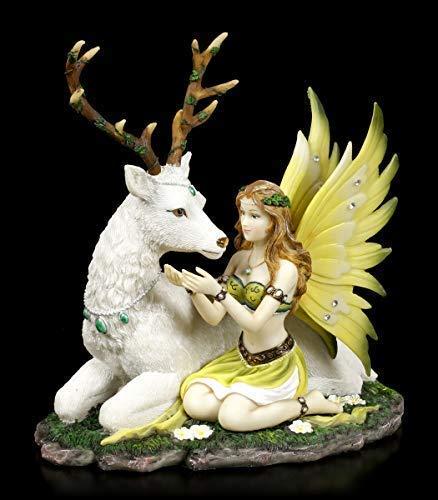 Elfen Figur weißem, liegenden Hirsch - Adoration   Fantasy-Figur, mit Schmucksteinen verziert, handbemalt