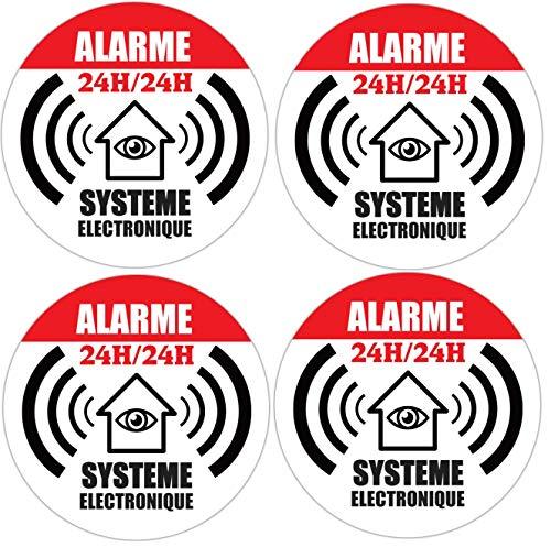 """4x autocollant Ø65mm de dissuasion"""" maison sous alarme"""" stickers"""