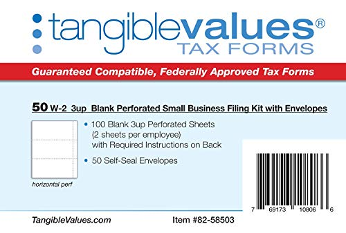 W-2 Blank 3-up Tax Forms 2019 - Tangibles Values Perforated Small Business Filing Kit with Envelopes - Accounting Software Compatible, 50 Pack Photo #5