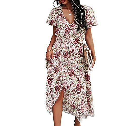 Sukienka Damska Moda Letnia Seksowna Sukienka W Kropki W Stylu Boho (biały+S)