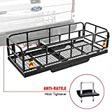 AA Products Hitch Mount Basket Foldable Storage Steel Cargo Carrier Rack, Fits 2 Trailer Mounted Hitches,Black