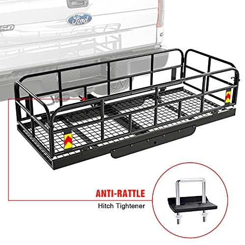 AA Products Hitch Mount Basket Foldable Storage Steel Cargo Carrier Rack, Fits 2 Trailer Mounted...