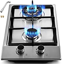 Happybuy 12x20 inches Built in Gas Cooktop 2 Burners Gas Stove Cooktop Stainless Steel Cooktop Gas Hob With Liquid Propane Conversion Kit Thermocouple Protection and Easy to Clean