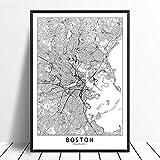 Leinwanddruck,Boston Schwarz Weiß Benutzerdefinierte Welt