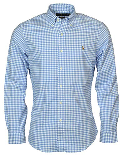 Ralph Lauren Polo Men's Slim-Fit Stretch Cotton Blend Oxford Checked Gingham Shirt (Cabana Blue/White, XX-Large)