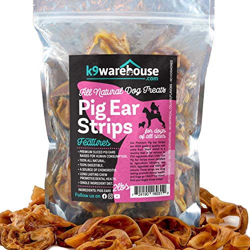 Pig Ear Strips for Dogs | 2 Pounds All Natural Pigs Ears Slivers Dog Chew Treats | Inspected and Packaged in USA | Made of 100% Pure Pork | Alternative to Rawhide Chews | Thick Cut Treat (32oz)