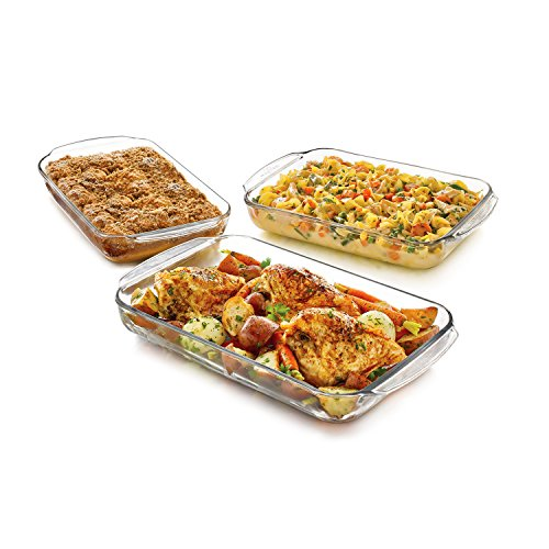 Libbey Baker's Basics 3-Piece Glass Casserole Baking Dish Set