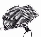 Sizwea Automatic Rain Umbrella Women Paraguas Plegable Parasol Business Men Strong Windproof Umbrella Handle, Lattice