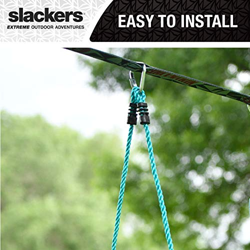 Slackers 8 ft Rope Ladder - Best Outdoor Ninja Warrior Training Equipment For Kids - A Great Addition To Your Backyard Ninjaline Obstacle Course - Rated Ages 5+