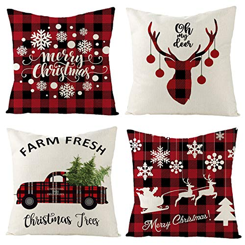 ZUZEN Christmas Pillow Covers 18 x 18 Inches Set of 4 , Christmas Decorations Throw Pillow Covers for Sofa, Couch, Bed and Car