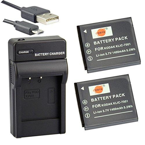 DSTE KLIC-7001 Li-Ion Batería (2 Paquetes) Traje y Cargador