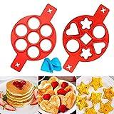 qaqgear 2 pcs stampo per pancake, anelli per uova in silicone antiaderente cuocitore uova muffin rotondo stampo a forma di cuore friggere pancake formare fritte + clip per mano in silicone