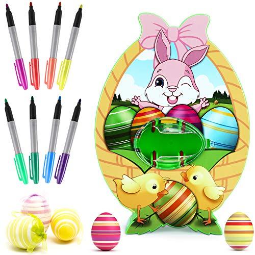 XDDIAS Uovo di Pasqua Strumento di Pittura, Uova di Plastica Pasqua Colorate Fai da Te Set con 8 Colori Pennarelli, per Bambini Caccia alle Uova di Pasqua