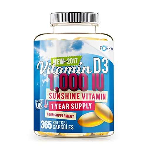 Forza Vitamin D3 1,000 IU - High Absorption Vitamin D3 Supplement for Muscle Function, Bone Health and Immune Support - 1 Year Supply - 365 Softgels