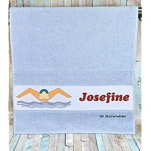 """bedruckte Frottiere Handtücher oder Dusch/Badetücher – Motiv""""Schwimmen"""" mit Ihrem Wunschnamen in 14 Farben zur Auswahl und 2 Größen"""