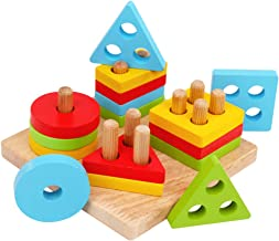 WOOD CITY Wooden Sorting & Staking Toys for Toddlers, Educational Shape Color Recognition Puzzle Stacker, Early Childhood Development Puzzle Toys for 1 2 3 Year Old Boys Girls (4 Shapes)