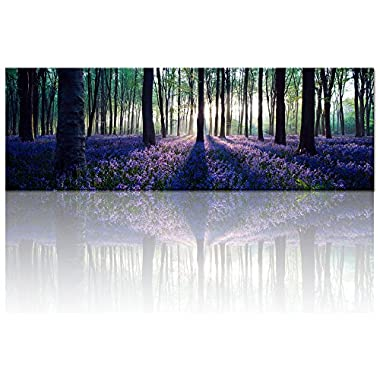Visual Art Decor Framed Large Canvas Wall Art Mild Sunshine Lavender Forest Landscape Tree Wall Art Picture Prints Gallery Wrap Home Living Room Decoration