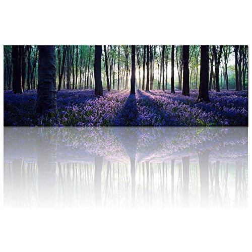 Visual Art Decor Framed Large Purple Canvas Wall Art Mild Sunshine Lavender Forest Landscape Tree Wall Art Picture Prints Gallery Wrap Home Living Room Decoration
