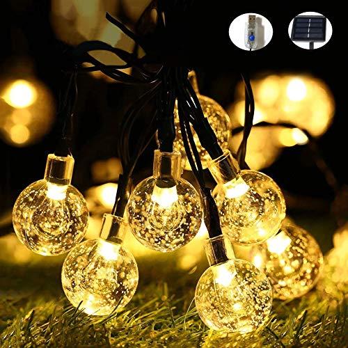 Solar Lichterkette Außen 50 LEDs Kristallkugeln Wasserdicht, Warmweiß Kugel Lichterkette 7 Meter 8 Modi, USB Lichterkette für Halloween Garten Terrasse Hof Haus Party (Solar&USB Doppelnutzung)