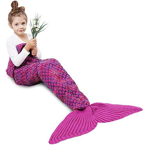 AMYHOMIE Meerjungfrau Decken, Handgemachte Meerjungfrau Strickmuster Schlafsack, weiche Strick Meerjungfrau Schwanz Schlafsack für Erwachsene, alle Jahreszeiten Schlafsack (Kinder, Rainbow)