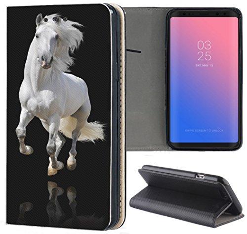 Huawei P20 Lite Hülle Premium Smart Einseitig Flipcover Hülle P20 Lite Flip Case Handyhülle Huawei P20 Lite Motiv (1091 Pferd Hengst Weiß Schwarz)