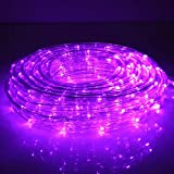 33ft 240 LED Rope Lights, Outdoor Purple Rope Lights, Low Voltage, Waterproof, Connectable Clear Tube Light Rope and String for Deck, Pool, Patio, Camping, Landscape Lighting Decorations (Purple)