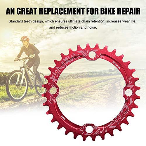 Alomejor Fahrradkettenring 32/34/36 / 38T BCD 104 Mountainbike Stahl Einzelkurbel Kettenblatt Reparatur Teile Kettenblätter für Outdoor Radfahren(32T-Rot) - 4