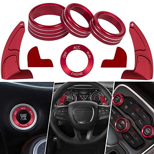 Red Steering Wheel Shift Paddle Trim Cover & Central Control air Conditioner knob Cover & Engine Start Button Decoration for 2015-2020 Dodge Challenger Charger