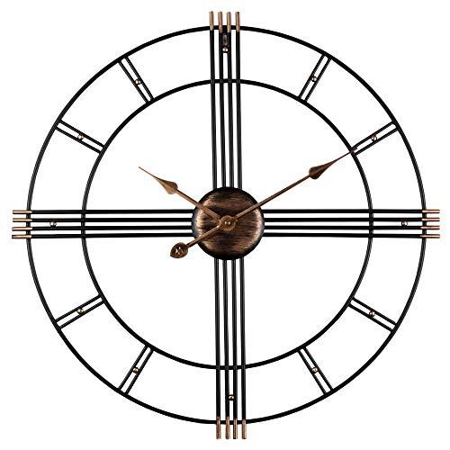 Reloj de pared 3D, grande, con mecanismo de cuarzo, metal, sin ruido de tictac, decorativo, 60 cm de diámetro, ideal para salones, cocinas, pubs, lofts, cafeterías