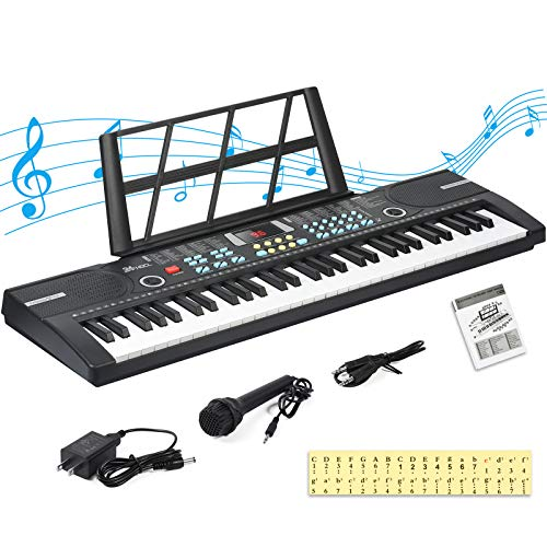 24HOCL Electronic Keyboard Piano, 61 Key Kids Piano Keyboard Portable Digital Music Learning Keyboard with Stand, Microphone, UL Adapter Best Gift for Boys & Girls, Black