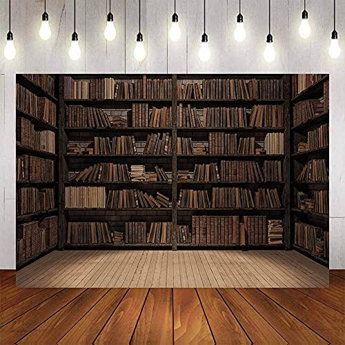 Fondo de fotografía Libro de estantería de Madera Vieja para Estudio de Biblioteca Retrato de niño Fondo de fotografía de cumpleaños Estudio A7 9x6ft / 2.7x1.8m