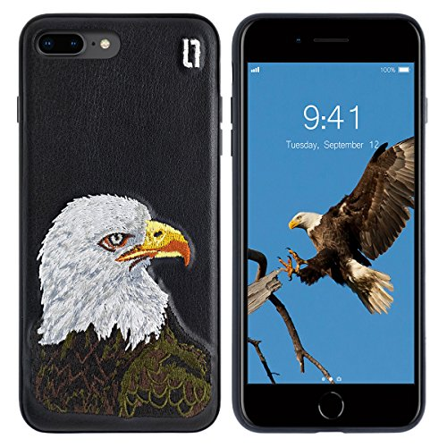 ULAK 3D Embroidered Case Compatible with The iPhone 7 Plus (2016) iPhone 8 Plus (2017) 5.5-Inch - Slim Fit, TPU Bumper with 3D Embroidery on a PU Leather Protective Cover [Bald Eagle]