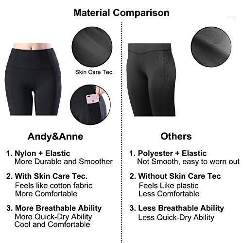 Womens Yoga Leggings with Pockets, Andy&Anne Upgrade High Waist Tummy Control, Plus Size Sport Leggings, Running Tights Training Pants, Non See-through Casual Trousers((M,Black(mesh))