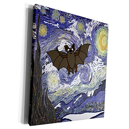 3dRose All Smiles Art - Funny - Funny Cute Flying Bat in Starry Night Van Gogh Art - Museum Grade Canvas Wrap (cw_317008_1)